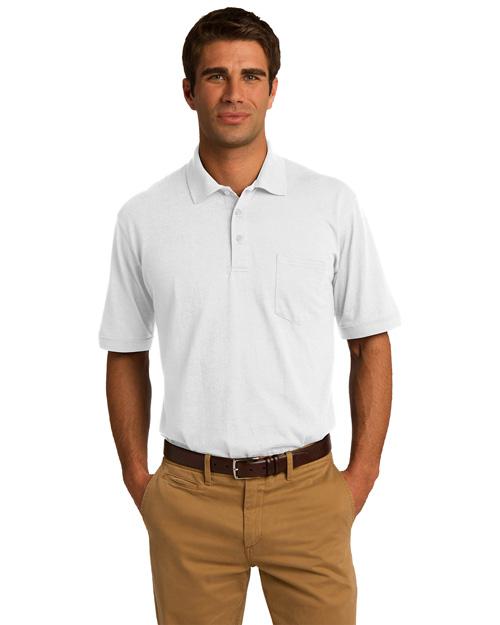 Port & Company KP55P Men 5.5ounce Jersey Knit Pocket Polo White at bigntallapparel