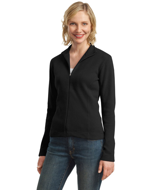 Port Authority L221 Women Flatback Rib Full-Zip Jacket Black at bigntallapparel