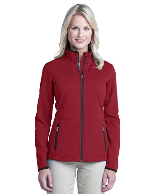 Port Authority L222 Women Pique Fleece Jacket Garnet Red at bigntallapparel