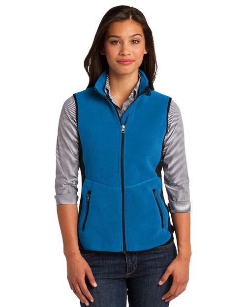 Port Authority L228 Women Rtek Pro Fleece Fullzip Vest Imperial Bl/Bk at bigntallapparel