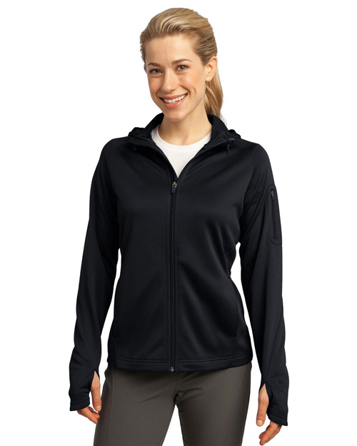 Sport-Tek L248 Women Tech Fleece Full-Zip Hooded Jacket Black at bigntallapparel