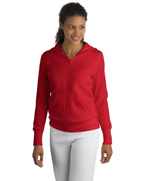 Sport-Tek L265 Women Full-Zip Hooded Fleece Jacket Red at bigntallapparel
