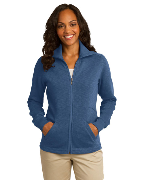 Port Authority L293 Women Slub Fleece Fullzip Jacket Twilight Blue at bigntallapparel