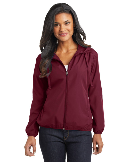 Port Authority L305 Women Hooded Essential Jacket Claret Red at bigntallapparel