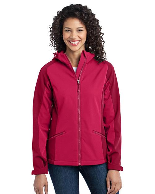 Port Authority L312 Women Gradient Hooded Soft Shell Jacket Dark Fuchsia/Loganberry at bigntallapparel