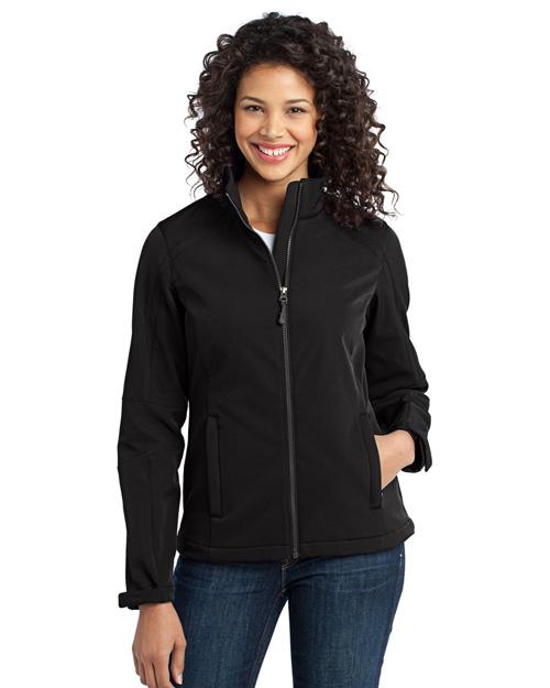 Port Authority L316 Women Traverse Soft Shell Jacket Black/Deep Grey at bigntallapparel