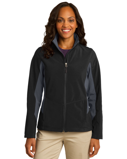 Port Authority L318 Women Mencore Colorblock Soft Shell Jacket Black/Bat Grey at bigntallapparel