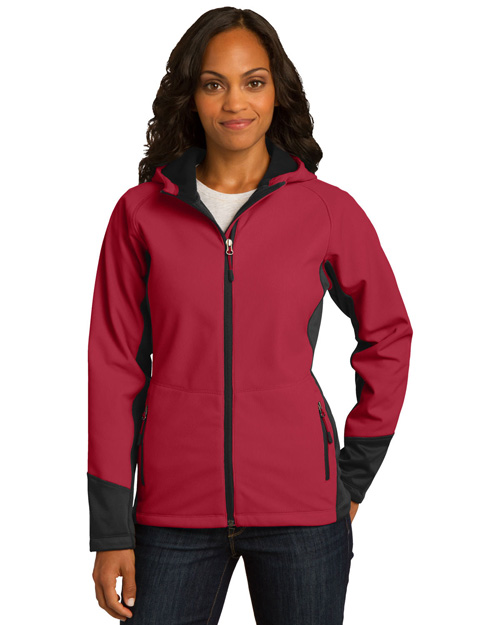 Port Authority L319 Women Vertical Hooded Soft Shell Jacket Rich Red/Black at bigntallapparel