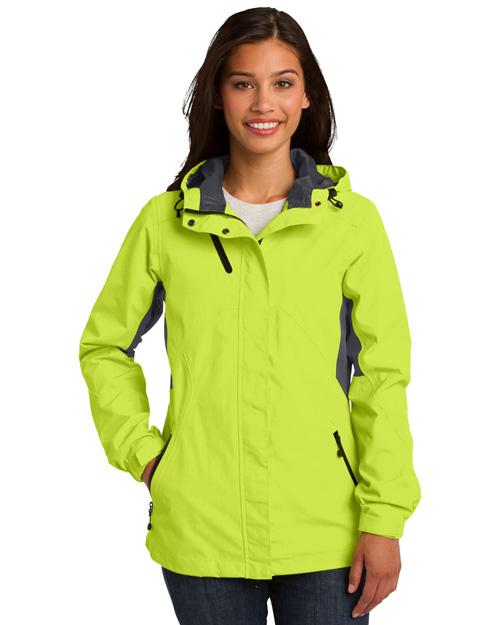 Port Authority L322 Women Cascade Waterproof Jacket Chg Grn/Mag Gy at bigntallapparel