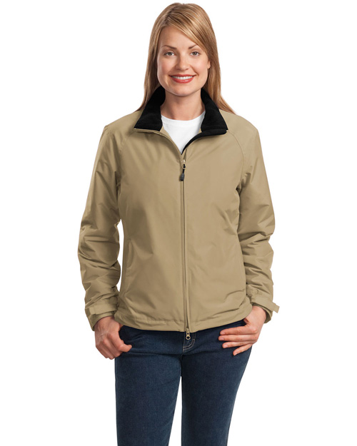 Port Authority L354 Women Challenger Jacket Khaki/True Black at bigntallapparel