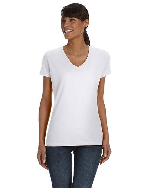 Fruit Of The Loom L39VR Women 5 Oz., 100% Heavy Cotton Hd V-Neck T-Shirt White at bigntallapparel