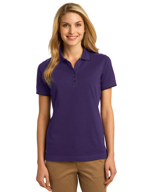 Port Authority L454 Women Rapid Dry? Tipped Polo Br Purp/Cl Nvy at bigntallapparel