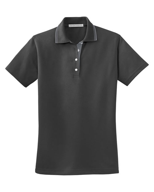 Port Authority L456 Women Rapid Dry Polo With Contrast Trim Charcoal/Steel Grey at bigntallapparel