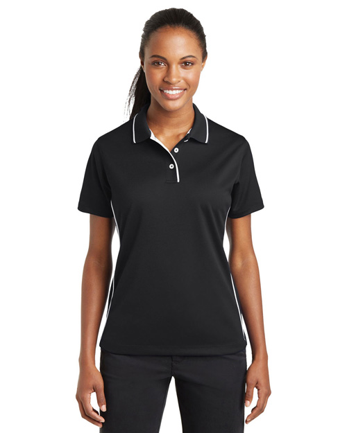Sport-Tek L467 Women Dri-Mesh Polo With Tipped Collar And Piping Black/White at bigntallapparel