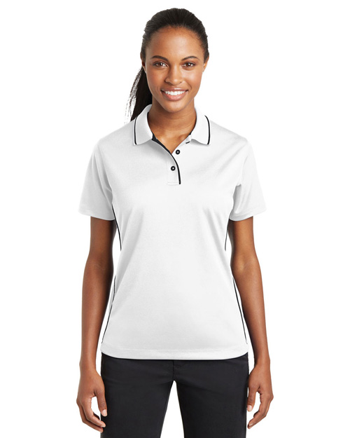 Sport-Tek L467 Women Dri-Mesh Polo With Tipped Collar And Piping White/Black at bigntallapparel