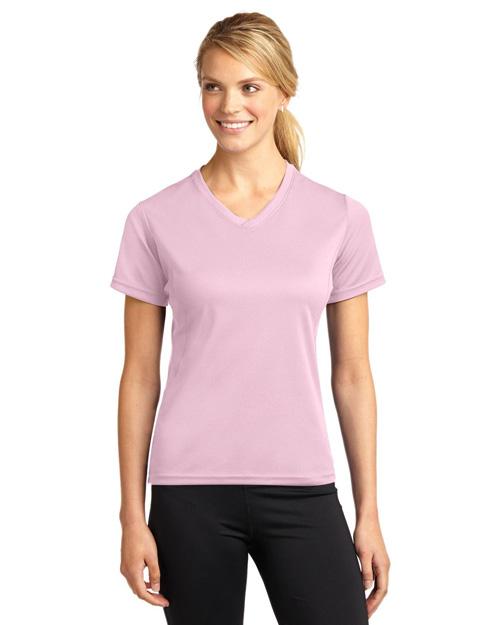 Sport-Tek L468V Women Dri-Mesh Womenv-Neck T-Shirt Pink at bigntallapparel