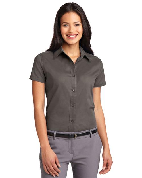 Port Authority L508 Women Short Sleeve Easy Care  Shirt Bark at bigntallapparel