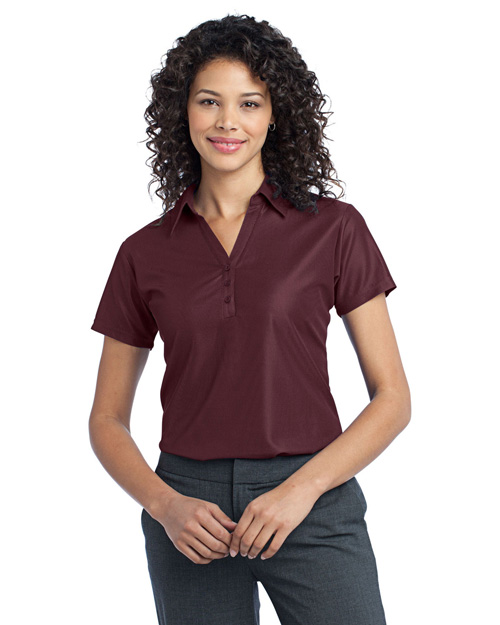 Port Authority L512 Women Vertical Pique Polo Maroon at bigntallapparel