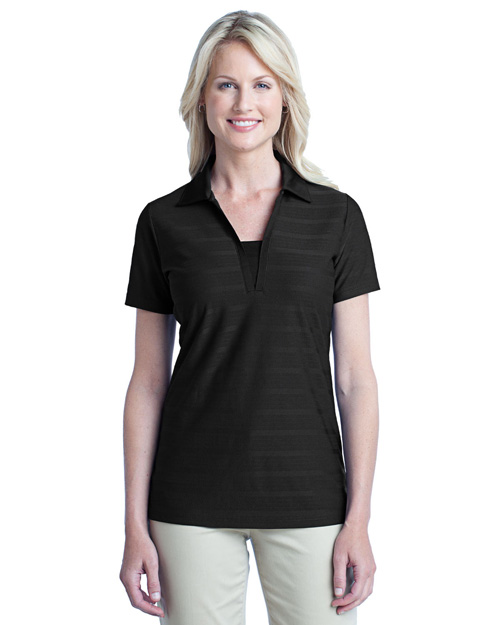 Port Authority L514 Women Horizontal Texture Polo Black at bigntallapparel