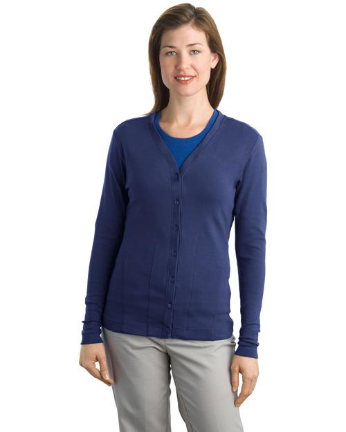 Port Authority L515 Women Modern Stretch Cotton Cardigan Sapphire Blue at bigntallapparel