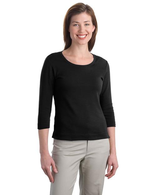 Port Authority L517 Women Modern Stretch Cotton 3/4-Sleeve Scoop Neck Shirt Black at bigntallapparel
