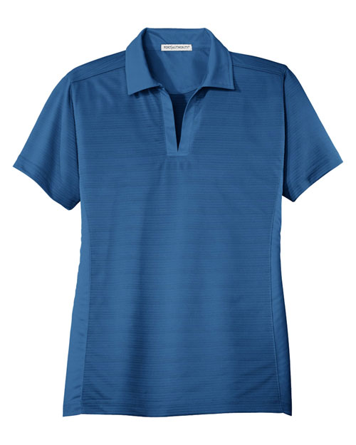 Port Authority L526 Women Dry Zone Horizontal Texture Polo Strong Blue at bigntallapparel
