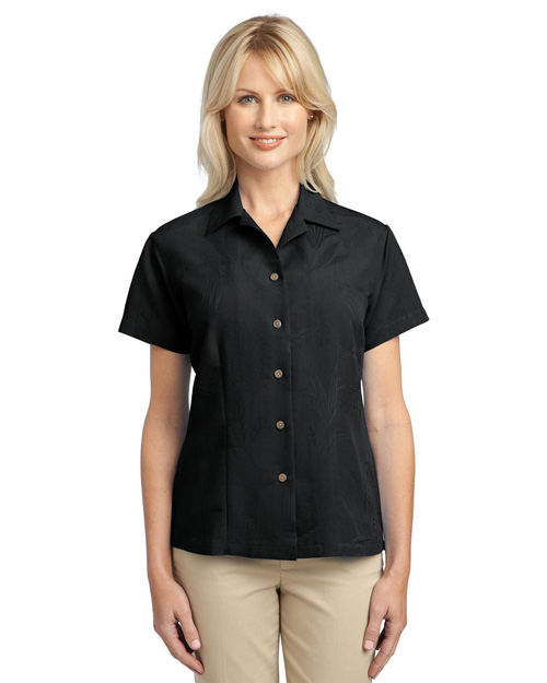 Port Authority L536 Women Patterned Easy Care Camp Shirt Black at bigntallapparel