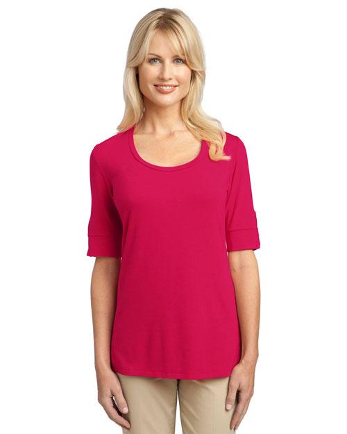 Port Authority L541 Women Concept Scoop Neck Shirt Rose Pink at bigntallapparel