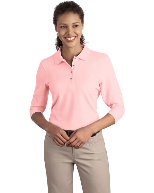 Port Authority L562 Women Silk Touch 3/4-Sleeve Polo Light Pink at bigntallapparel