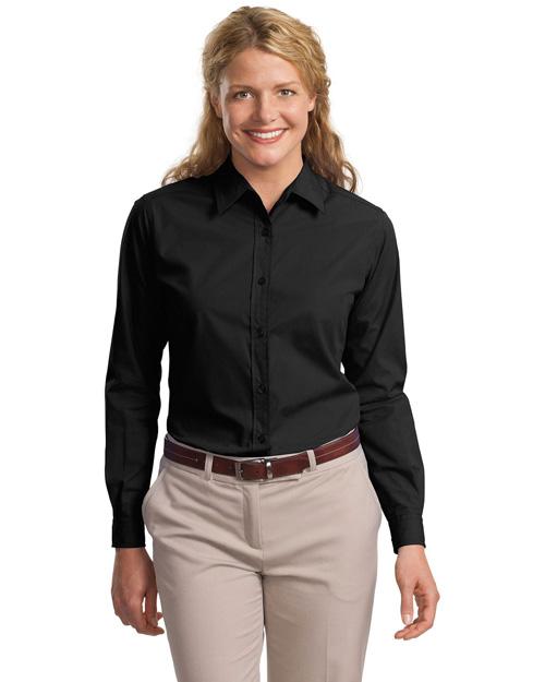Port Authority L607 Women Long Sleeve Easy Care, Soil Resistant Shirt Black at bigntallapparel