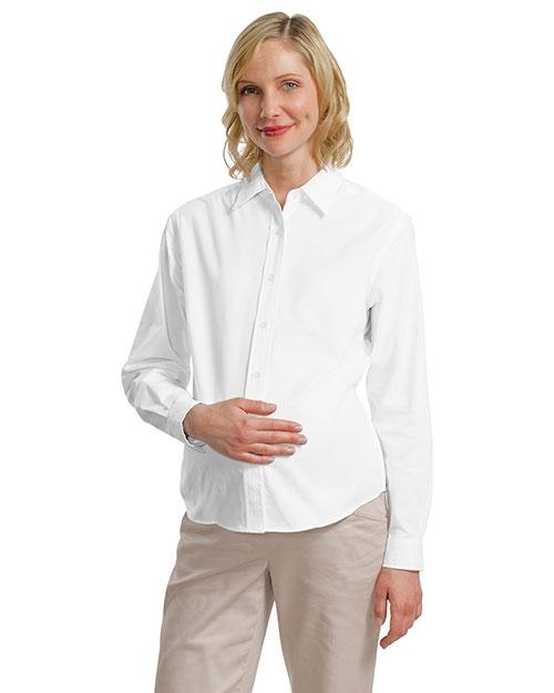 Port Authority Signature L608M Women Port Authority Maternity Long Sleeve Easy Care Shirt White/Light Stone at bigntallapparel