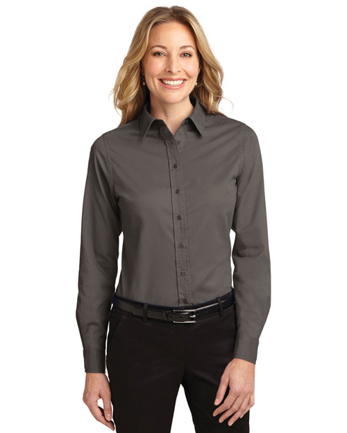 Port Authority L608 Women Long Sleeve Easy Care Shirt Bark at bigntallapparel