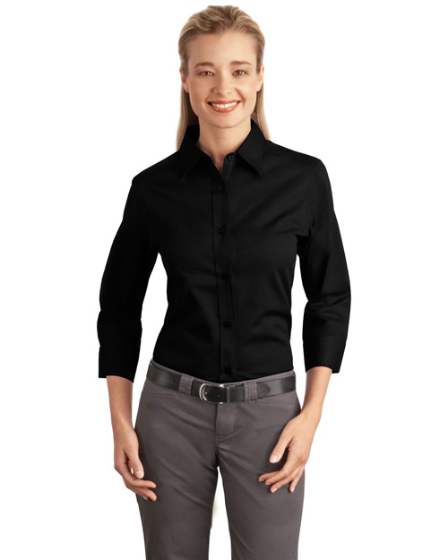 Port Authority L612 Women 3/4-Sleeve Easy Care Shirt Black at bigntallapparel