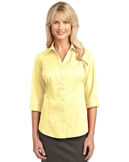 Port Authority L6290 Women 3/4-Sleeve Blouse Pale Yellow at bigntallapparel