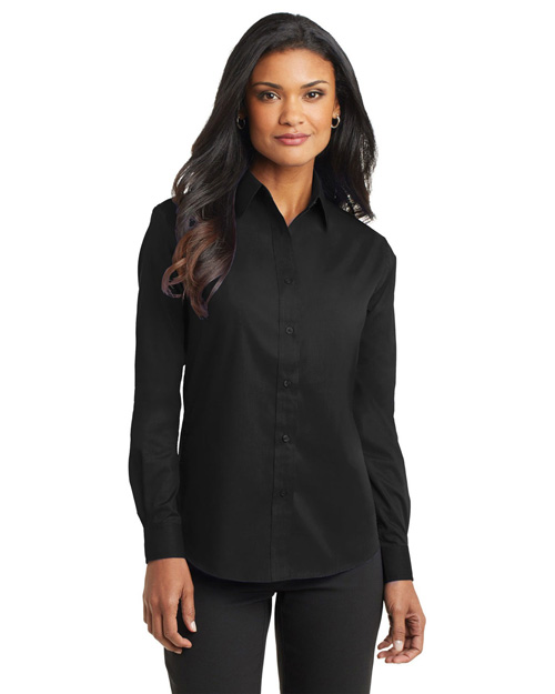 Port Authority L632 Women Long Sleeve Value Poplin Shirt Black at bigntallapparel