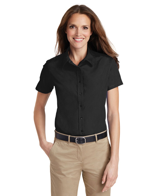 Port Authority L633 Women Short Sleeve Value Poplin Shirt Black at bigntallapparel