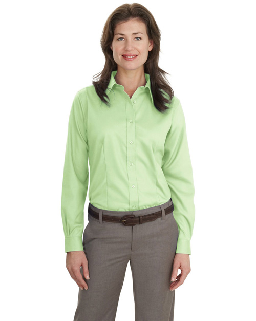 Port Authority L638 Women Long Sleeve Non-Iron Twill Shirt Green Mist at bigntallapparel