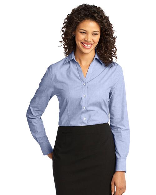 Port Authority L640 Women Crosshatch Easy Care Shirt Chambray Blue at bigntallapparel