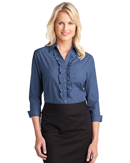 Port Authority L644 Women Crosshatch Ruffle Easy Care Shirt Deep Blue at bigntallapparel
