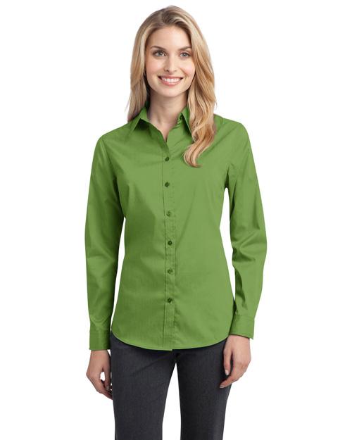 Port Authority L646 Women Stretch Poplin Shirt Wintergreen at bigntallapparel
