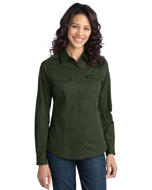 Port Authority L649 Women Stainresistant Roll Sleeve Twill Shirt Basil Green at bigntallapparel