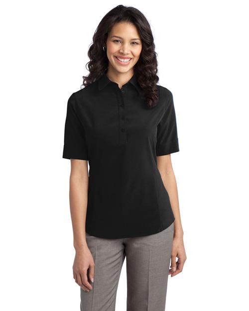Port Authority L650 Women Ultra Stretch Pocket Polo Black at bigntallapparel