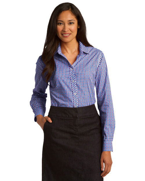 Port Authority L654 Women Long Sleeve Gingham Easy Care Shirt Blue/Purple at bigntallapparel