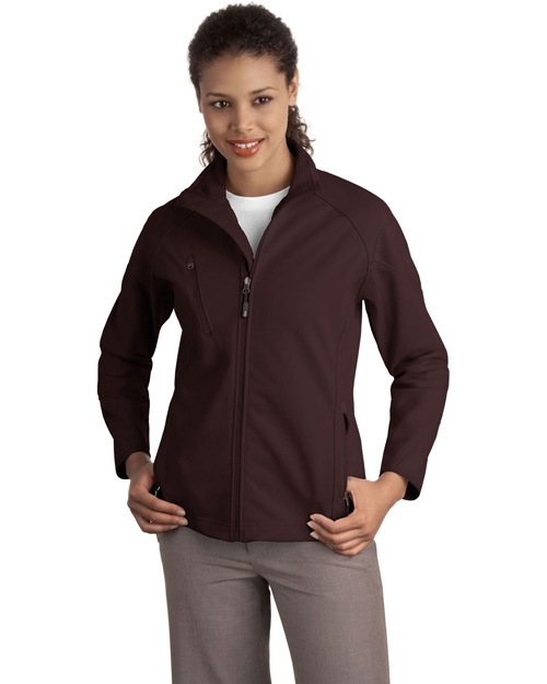Port Authority L705 Women Textured Soft Shell Jacket Cafe Brown at bigntallapparel