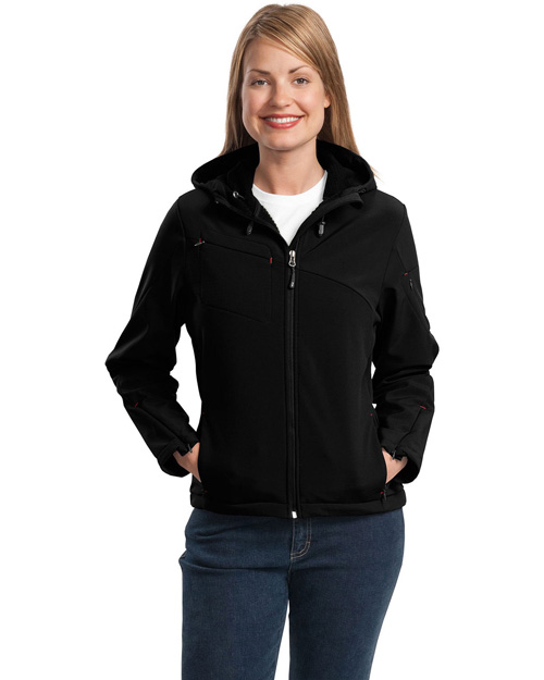 Port Authority L706 Women Textured Hooded Soft Shell Jacket Black/Engine Red at bigntallapparel