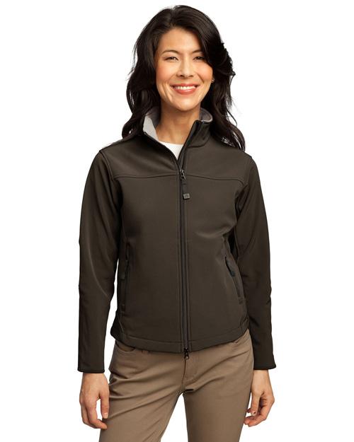 Port Authority L790 Women Glacier Soft Shell Jacket Brown/Chrome at bigntallapparel