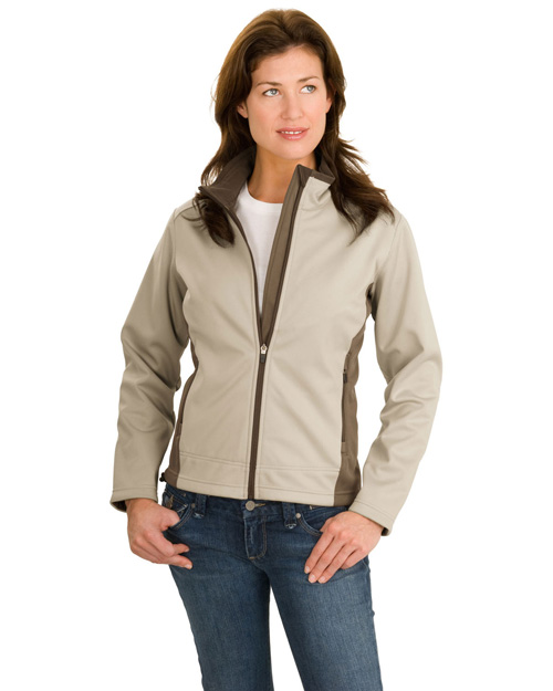 Port Authority L794 Women Two-Tone Soft Shell Jacket Sahara/Dark Mocha at bigntallapparel
