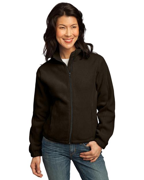 Port Authority LP77 Women R-Tek Fleece Full-Zip Jacket Brown at bigntallapparel