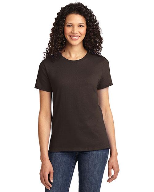 Port & Company LPC61 Women Essential T-Shirt Dark Chocolate Brown at bigntallapparel