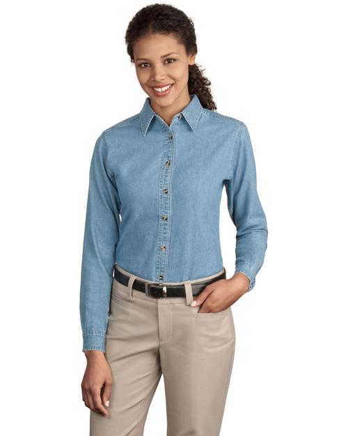 Port & Company LSP10 Women Long Sleeve Value Denim Shirt Faded Blue* at bigntallapparel